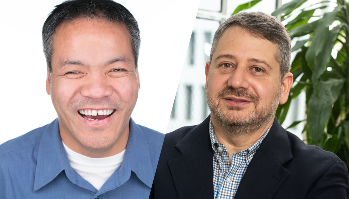 Image split between Jennison Asuncion and Joe Devon. On the left, Jennison is laughing looking straight to the camera wearing a blue shirt with a white t-shirt underneath. On the right, Joe is smiling slightly to the camera wearing a blue, white and grey checkered shirt and a black blazer.