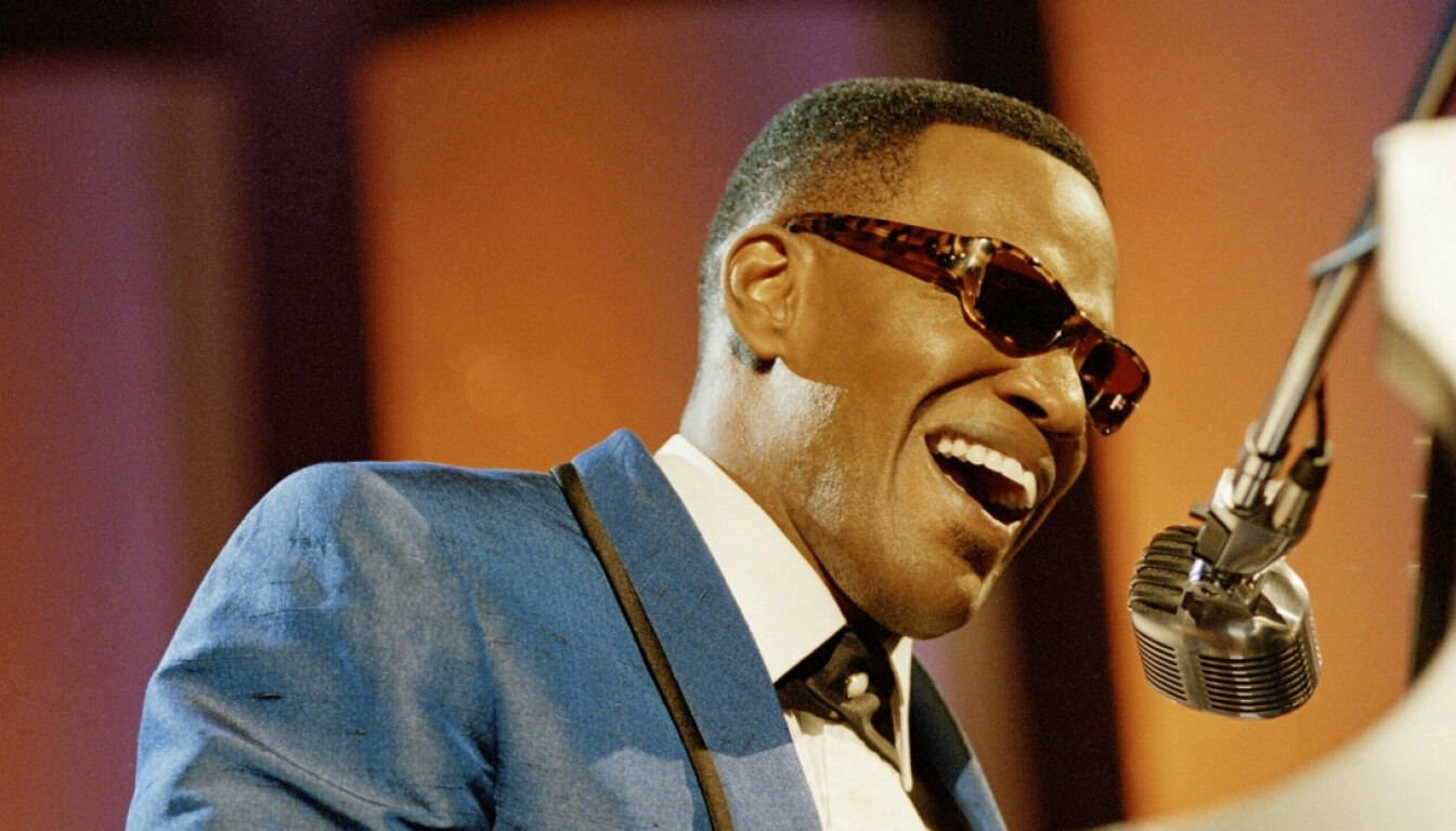 Jamie Foxx portraying Ray Charles in the movie 'Ray'.