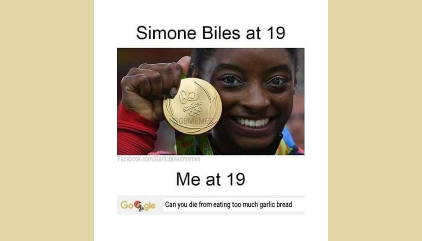 Simone Biles meme described in the episode.